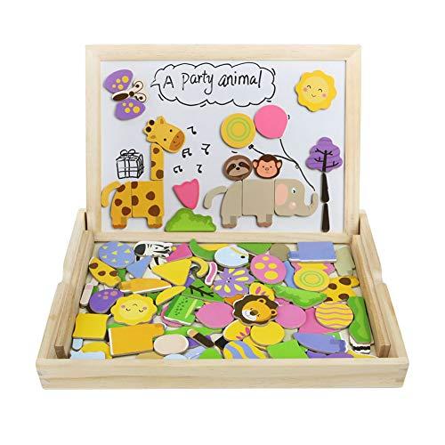 Tablero de dibujo magnético puzzles rompecabezas lateral doble de madera para niños de más de 3 años