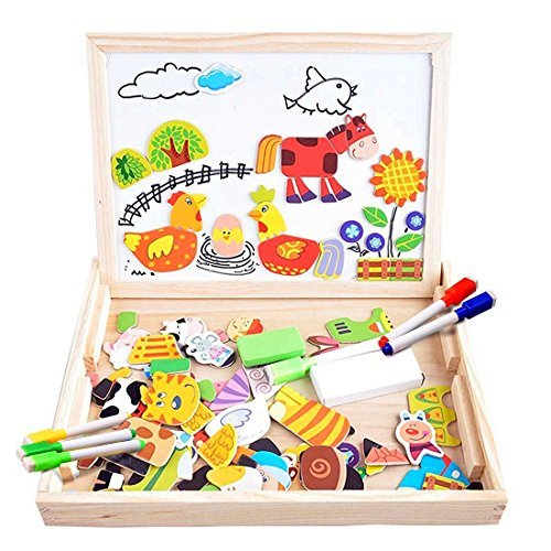 Puzzles rompecabezas magnéticos de madera juguete educativo tablero de dibujo de doble cara para niños niña 3 años 4 años 5 años