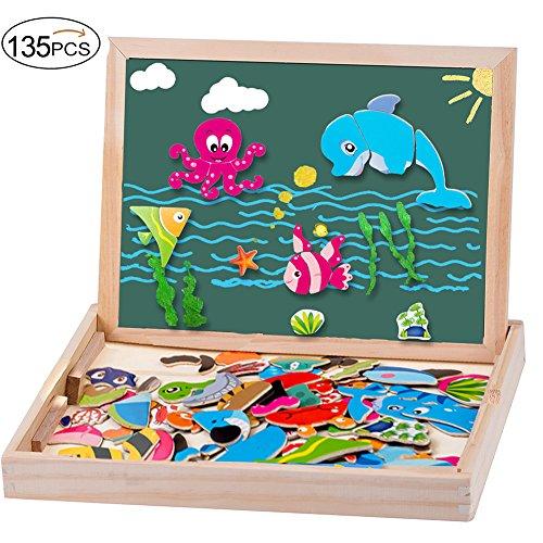Puzzles de madera magnética doble cara 135 pcs rompecabezas madera educativos juguete para niños 3 años +–vida marina