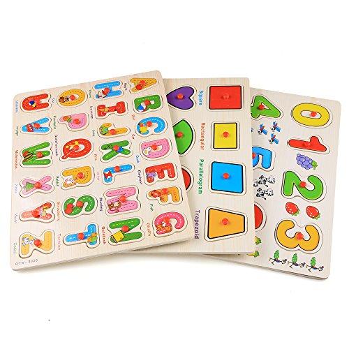 Rompecabezas de madera de 56 pcs de alfabeto número gráfico multicolor puzzle juguete para aprendizaje para niños
