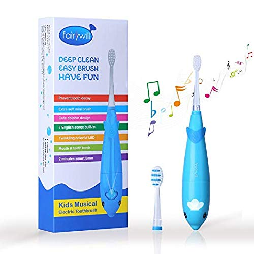 Cepillo de dientes eléctrico para niños batería con temporizador inteligente sonic cepillo de dientes con luz led 7 canciones incorporadas 2 cabezas de reemplazo incluidas para niños